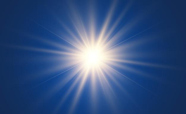 Efeito de luz de estrela brilhante isolado em azul