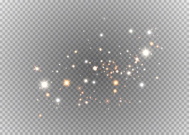 Efeito de luz de faíscas brancas e estrelas douradas