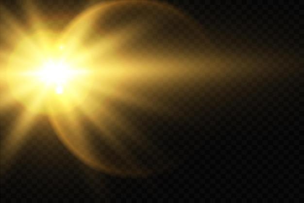 Efeito de luz de flash de lente especial de luz solar em fundo transparente efeito de luz desfocada