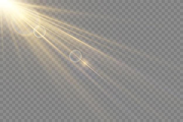 Efeito de luz de flash de lente especial de luz solar transparente de vetor. flash de lente de sol frontal. desfoque de vetor à luz da radiância. elemento de decoração. raios estelares horizontais e holofote.