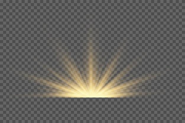 Efeito de luz de flash de lente especial de luz solar transparente de vetor. flash de lente de sol frontal. desfoque de vetor à luz da radiância. elemento de decoração. raios estelares horizontais e luz de pesquisa