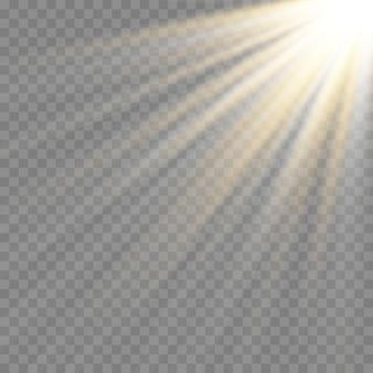 Efeito de luz de flash de lente especial de luz solar transparente de vetor. flash de lente de sol frontal.