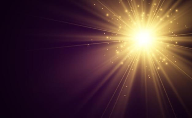 Efeito de luz de flash de lente especial o flash emite raios e o holofote ilumina-se.