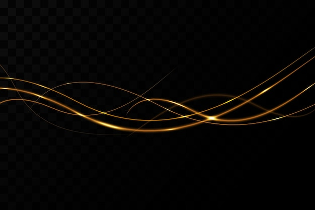 Efeito de luz de fundo com linhas onduladas douradas e decoração de natal