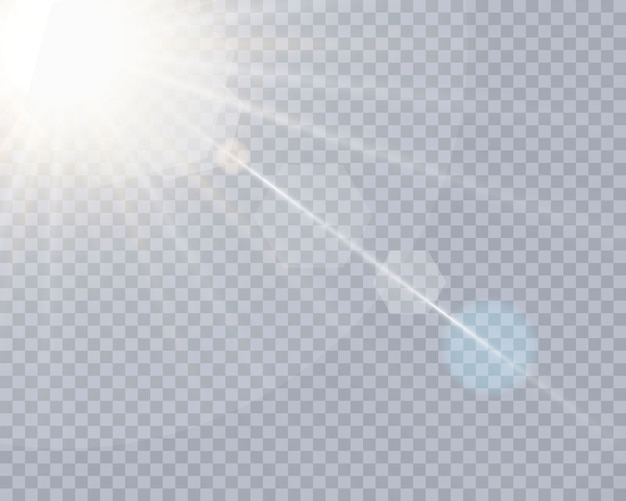Efeito de luz de lente especial de luz solar transparente.