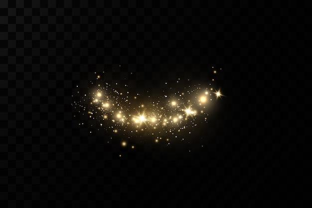 Efeito de luz de natal partículas de poeira mágicas cintilantes as faíscas de poeira e estrelas douradas brilham com luz especial