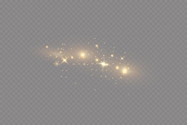 Efeito de luz de natal partículas de poeira mágicas cintilantes as faíscas de poeira e estrelas douradas brilham