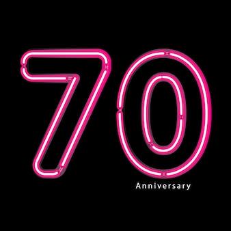 Efeito de luz de néon 70º aniversário