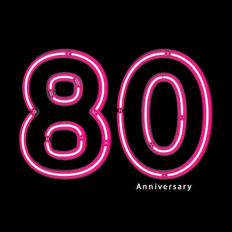Efeito de luz de néon 80º aniversário