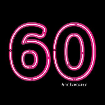 Efeito de luz de néon aniversário de 60 anos