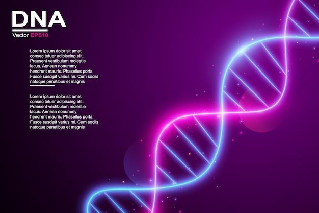 Efeito de luz de néon de molécula de dna colorido