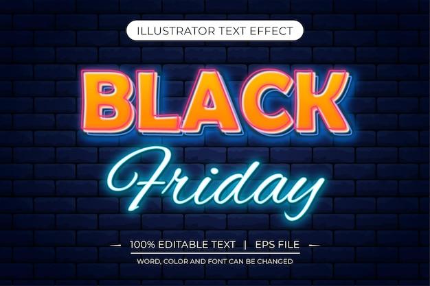 Efeito de luz de néon de sexta-feira negra efeito de texto em néon amarelo e azul