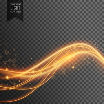 Efeito de luz de ondas de luz dourado com brilhos