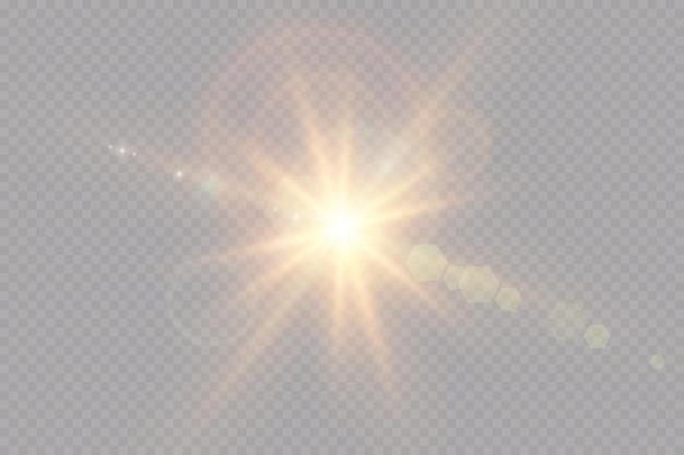 Efeito de luz de reflexo de lente de luz solar transparente de vetor