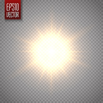 Efeito de luz de reflexo de lente especial de luz solar. ilustração vetorial