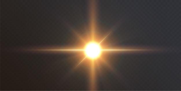 Efeito de luz de reflexo de lente especial de luz solar transparente abstrata. borrão no brilho do brilho do movimento. fundo transparente isolado. elemento de decoração. raios e holofotes de explosão de estrela horizontal.
