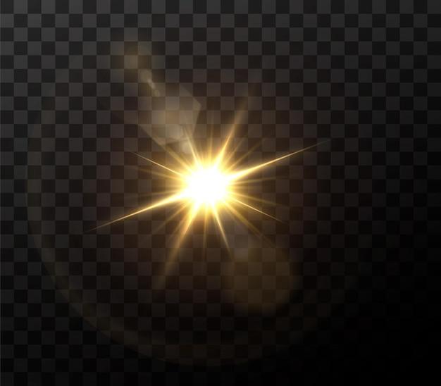 Efeito de luz de reflexo de lente especial de luz solar transparente abstrata.