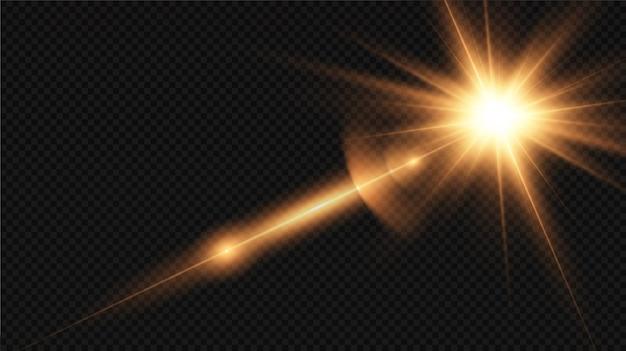 Efeito de luz de reflexo de lente especial de luz solar transparente de vetor. explosão de sol.