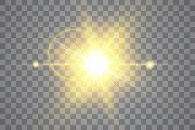 Efeito de luz de reflexo de lente especial de luz solar transparente de vetor. raios de flash e holofotes isolados do sol.