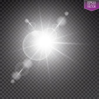 Efeito de luz de reflexo de lente especial de luz solar transparente de vetor. sol flash com raios e holofotes. eps 10