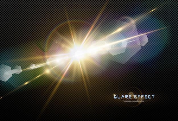 Efeito de luz de reflexo de lente especial luz solar transparente abstrata. borrão em movimento brilho brilho. isolado de fundo transparente. estrela horizontal estourar os raios e holofotes.