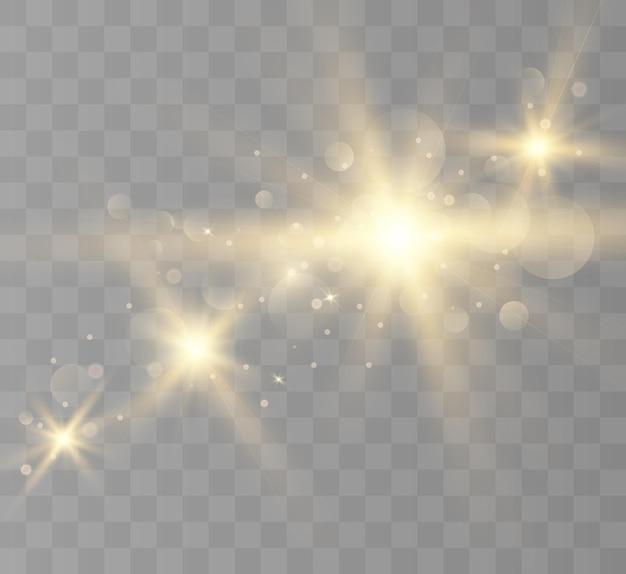 Efeito de luz de reflexo de lente flash pisca com feixes e holofotes