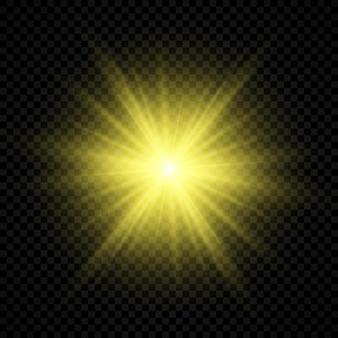 Efeito de luz de reflexos de lente. efeitos de starburst de luzes brilhantes amarelas com brilhos em um fundo transparente. ilustração vetorial