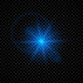 Efeito de luz de reflexos de lente. efeitos de starburst de luzes brilhantes azuis com brilhos em um fundo transparente. ilustração vetorial