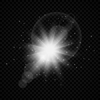 Efeito de luz de reflexos de lente. luzes brilhantes brancas efeitos starburst com brilhos em um fundo transparente. ilustração vetorial