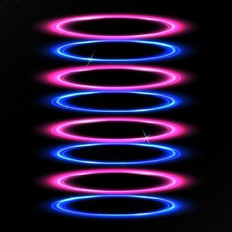 Efeito de luz do círculo azul e roxo