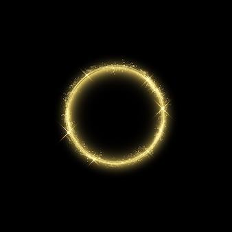 Efeito de luz do círculo mágico de ouro. ilustração isolada no fundo. conceito gráfico para seu projeto.