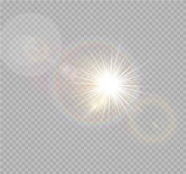Efeito de luz do flash da lente especial da luz solar. flash da lente do sol frontal. elemento de decoração. raios estelares horizontais e holofote.