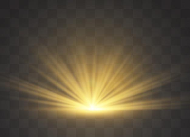 Efeito de luz do flash da lente especial transparente da luz solar. borrar à luz do brilho. elemento de decoração. raios estelares horizontais e holofote.