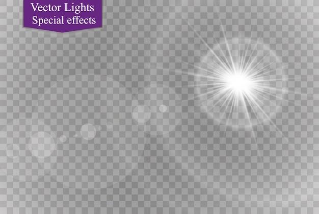 Efeito de luz do flash de lente especial de luz solar transparente de vetor. flash de lente de sol frontal borrão de vetor à luz do esplendor. elemento de decoração.