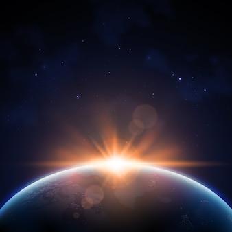 Efeito de luz do nascer do sol da terra