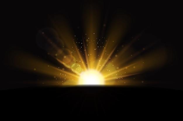 Efeito de luz dourada brilhante do nascer do sol