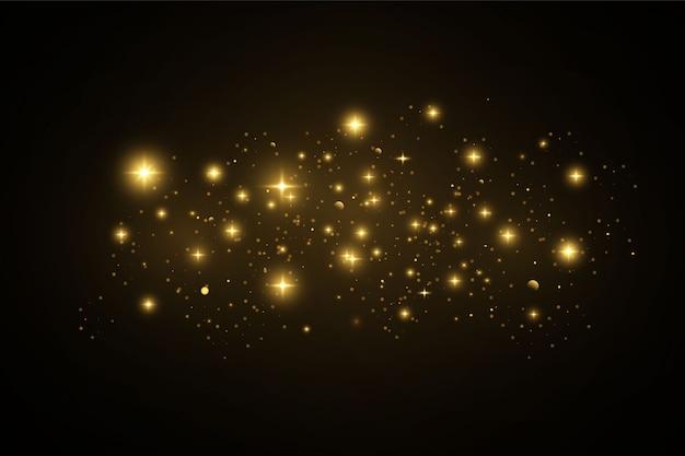 Efeito de luz dourada elegante. brilhos dourados.