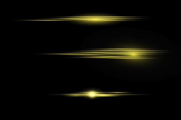 Efeito de luz dourada elegante em fundo escuro transparente