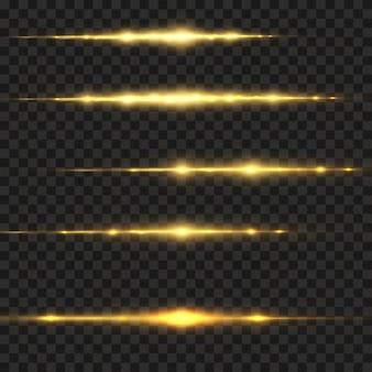Efeito de luz dourada elegante. feixes de laser abstratos de luz, raios de luz de néon. dourado