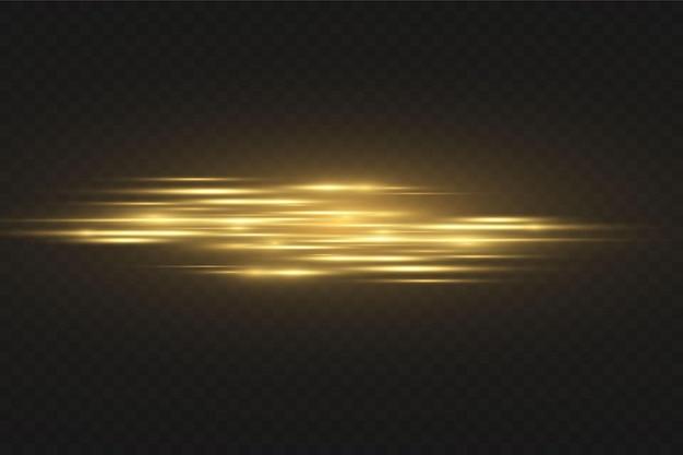 Efeito de luz dourada elegante. feixes de laser abstratos de luz. raios de luz neon caóticos. brilhos dourados. isolado em fundo escuro transparente. ilustração vetorial. eps 10