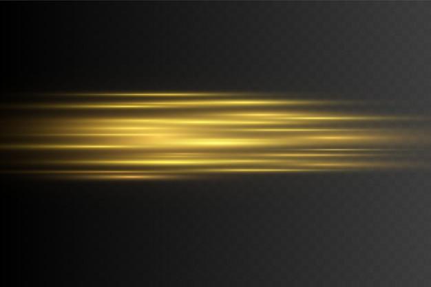 Efeito de luz dourada elegante. feixes de laser abstratos de luz.