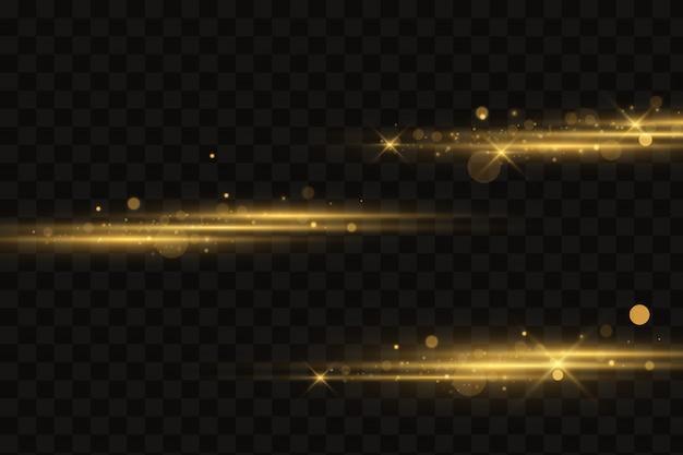 Efeito de luz dourada elegante. feixes de luz laser.