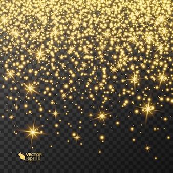 Efeito de luz dourada em fundo transparente, brilhando