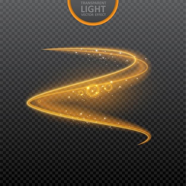 Efeito de luz dourada em transparente com brilhos realistas