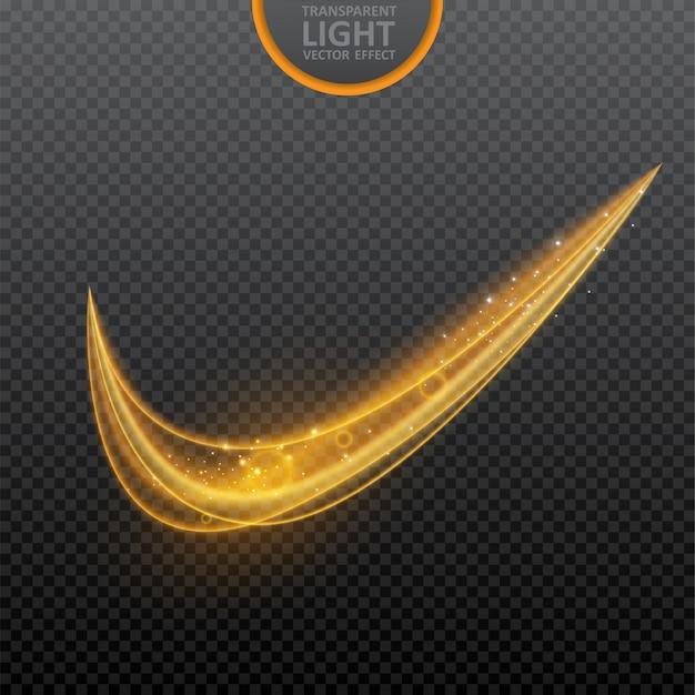 Efeito de luz dourada em transparente com efeito de luz de redemoinho brilhante