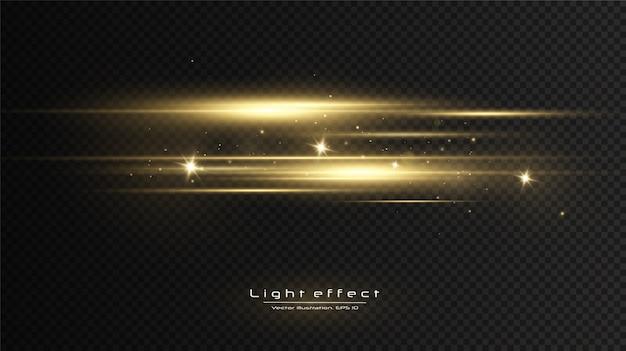 Efeito de luz dourada. feixes de laser abstratos de luz. raios de luz neon caóticos.