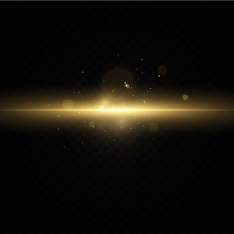 Efeito de luz dourada. resumo raios laser de luz.