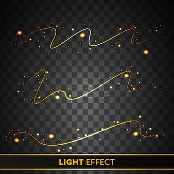 Efeito de luz dourado brilhante com partículas brilhantes isoladas em fundo transparente