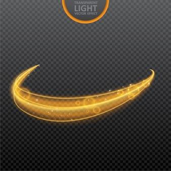 Efeito de luz dourado com brilhos realistas