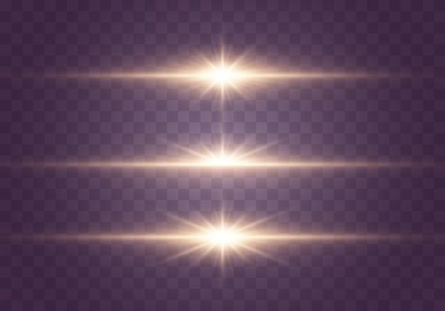 Efeito de luz dourado e brilhos em transparente